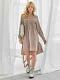 Свободное платье-рубашка с удлиненной спинкой бежевое 50056, фото 2