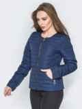 Куртка из плащевки с карманами на молнии синяя 20233, фото 2