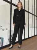 Брючный костюм с укороченным пиджаком черный 55059, фото 4