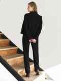 Брючный костюм с укороченным пиджаком черный 55059, фото 5