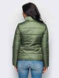 Демисезонная куртка с накладными карманами цвета хаки 15182, фото 2