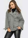 Серое пальто из жаккарда с лацканами и накладными карманами 55073, фото 2
