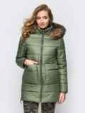 Зимняя куртка цвета хаки с функциональными молниями по бокам 15249, фото 2