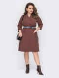 Коричневое платье-рубашка батал с накладными карманами 53229, фото 2