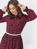 Бордовое платье в горох с воротником-аскот и юбкой-плиссе 44828, фото 4