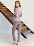 Костюм из блузки на запах бежевого цвета и брюк 54814, фото 4