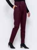 Бордовые брюки-каррот с широким поясом 40979, фото 2