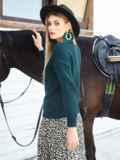 Тёмно-зеленый свитер крупной вязки с мысом на полочке 54979, фото 2