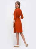 Терракотовое платье-рубашка прямого кроя на кнопках 54121, фото 2