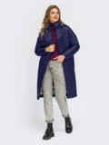 Синяя стеганая зимняя куртка с воротником-стойкой 55544, фото 2