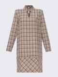 Платье-трапеция в клетку с фигурным вырезом бежевое 52880, фото 5