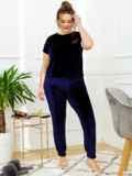 Тёмно-синяя пижама батал из велюра с футболкой и брюками 53393, фото 2