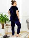Тёмно-синяя пижама батал из велюра с футболкой и брюками 53393, фото 3