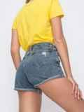 Джинсовые шорты с завышенной талией синие 49657, фото 3
