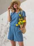 Комплект голубого цвета из свободной блузки и шорт 49136, фото 2