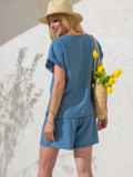 Комплект голубого цвета из свободной блузки и шорт 49136, фото 3