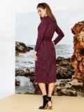 Бордовое платье на запах из замши с широкими лацканами 42196, фото 2