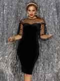Платье-футляр из велюра с фатиновой кокеткой и рукавами чёрное 42752, фото 2