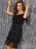 Платье с открытыми плечами и многоярусной бахромой на юбке 42746, фото 2
