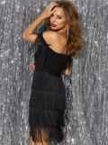 Платье с открытыми плечами и многоярусной бахромой на юбке 42746, фото 3