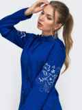 Синий костюм из рубашки с вышивкой на рукавах и брюк 49476, фото 2