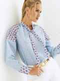 Голубая блузка в горох с завязками на горловине 54680, фото 1