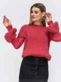 Розовый свитер со спущенной линией плеч 43129, фото 2