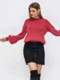 Розовый свитер со спущенной линией плеч 43129, фото 4