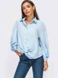 Голубая блузка свободного кроя с декоративным узлом 55079, фото 2