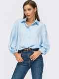 Голубая блузка свободного кроя с декоративным узлом 55079, фото 1
