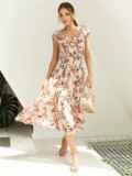 Платье с цветочным принтом и фигурным вырезом бежевое 54142, фото 2