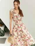 Платье с цветочным принтом и фигурным вырезом бежевое 54142, фото 3