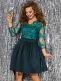 Платье с кружевным верхом и расклешенной юбкой зеленое 42892, фото 2
