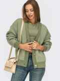 Вязаная кофта зеленого цвета на пуговицах 55078, фото 1