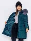 Зимняя куртка зеленого цвета с капюшоном 40907, фото 5