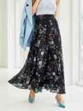 Шифоновая юбка-макси с цветочным принтом черная 53845, фото 2
