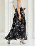 Шифоновая юбка-макси с цветочным принтом черная 53845, фото 3