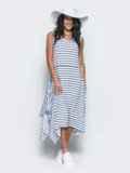 Платье в полоску с расклешенным низом белое 12627, фото 2