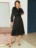 Расклешенное платье из атласа с разрезом спереди чёрное 51440, фото 3