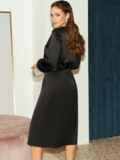 Расклешенное платье из атласа с разрезом спереди чёрное 51440, фото 4