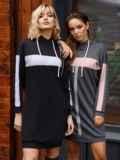 Спортивное платье из двунитки с капюшоном черное 52626, фото 2