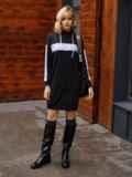 Спортивное платье из двунитки с капюшоном черное 52626, фото 3