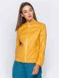 Желтая куртка прямого кроя из эко-кожи 40995, фото 3