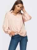 Пудровая блузка свободного кроя с декоративным узлом 55080, фото 2