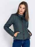 Демисезонная куртка с воротником на кнопке тёмно-серая 40223, фото 2
