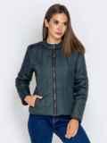 Демисезонная куртка с воротником на кнопке тёмно-серая 40223, фото 3