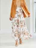 Шифоновая юбка-макси с цветочным принтом белая 53875, фото 2