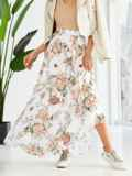 Шифоновая юбка-макси с цветочным принтом белая 53875, фото 4