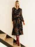 Черное платье с принтом и юбкой-полусолнце 53103, фото 3