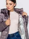 Демисезонная куртка серого цвета с капюшоном 40720, фото 4